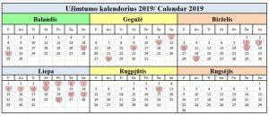 2019 uzimtumo kalendorius